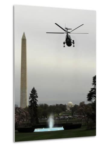Marine One, with President Barack Obama Aboard, Leaves the White House in Washington--Metal Print