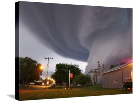Huge Tornado Funnel Cloud Touches Down in Orchard, Iowa,--Stretched Canvas Print