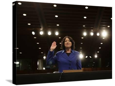 Supreme Court Nominee Sonia Sotomayor is Sworn in on Capitol Hill in Washington--Stretched Canvas Print