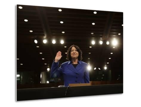 Supreme Court Nominee Sonia Sotomayor is Sworn in on Capitol Hill in Washington--Metal Print
