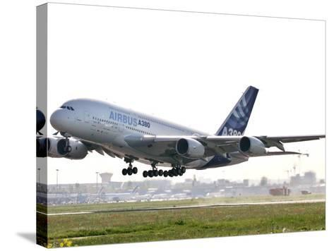 Airbus A380, the World's Largest Passenger Plane, Takes Off Successfully on its Maiden Flight--Stretched Canvas Print