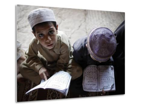 Afghan Refugee Children Read Verses of the Quran During a Daily Class at a Mosque in Pakistan--Metal Print