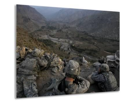 US Soldiers Take an Overwatch Position on a Mountain Top in the Pech Valley, Afghanistan--Metal Print