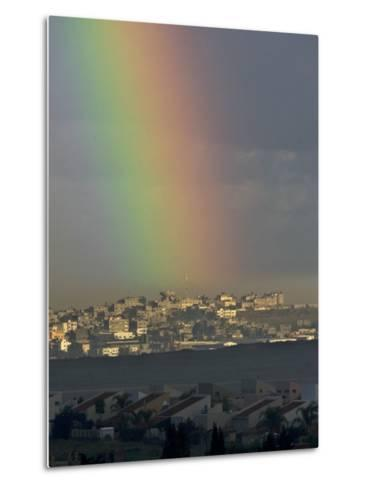 Rainbow is Seen over the Northern Gaza Strip, from the Israel-Gaza Border--Metal Print