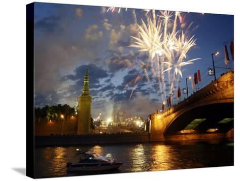 Fireworks Explode over the Kremlin, with St. Basil's Cathedral, Marking the Day of Russia in Moscow--Stretched Canvas Print