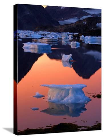 Iceberg Floats in the Bay in Kulusuk, Greenland Near the Arctic Circle--Stretched Canvas Print