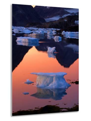 Iceberg Floats in the Bay in Kulusuk, Greenland Near the Arctic Circle--Metal Print