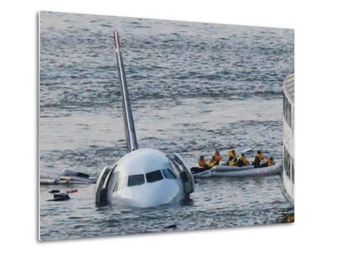 Passengers in a Raft Move from an Airbus 320 US Aircraft That Has Gone Down in the Hudson River--Metal Print
