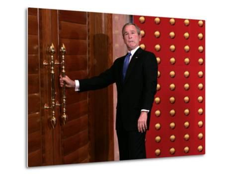 President George W. Bush as He Tries to Open a Locked Door Leaving a Press Conference in Beijing--Metal Print