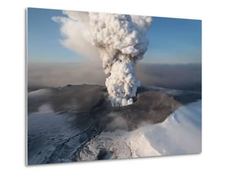 Crater at the Summit of the Volcano in Southern Iceland's Eyjafjallajokull Glacier--Metal Print