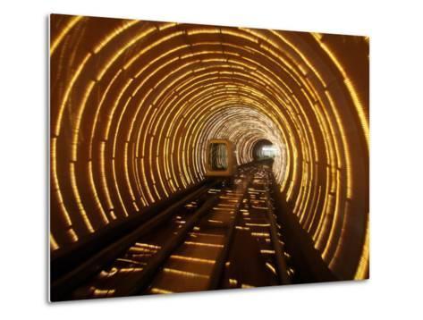 Empty Tourist Subway Car Runs Through Illuminated Tunnel in Shanghai, China--Metal Print