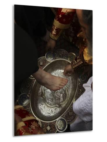 Greek Orthodox Patriarch Washes Foot of Priest at Ceremony Outside Church of Holy Sepulchre--Metal Print