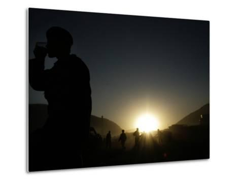 Soldier of the Afghan National Army Drinks Tea at Sunset in Kabul, Afghanistan--Metal Print