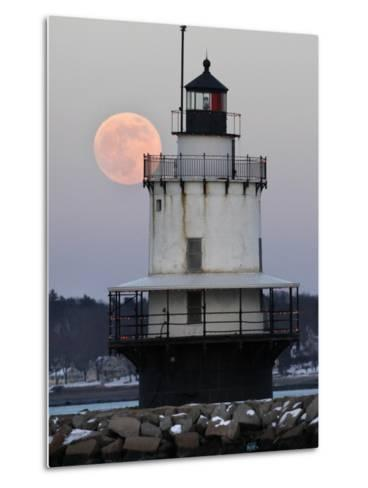 Full Moon Rises Behind the Spring Point Light House in South Portland, Maine--Metal Print