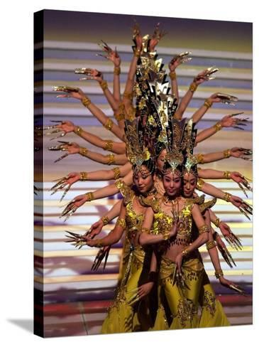 Chinese Dancers Perform During a Dress Rehearsal for the 54th Miss World Contest in Sanya--Stretched Canvas Print