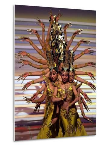 Chinese Dancers Perform During a Dress Rehearsal for the 54th Miss World Contest in Sanya--Metal Print