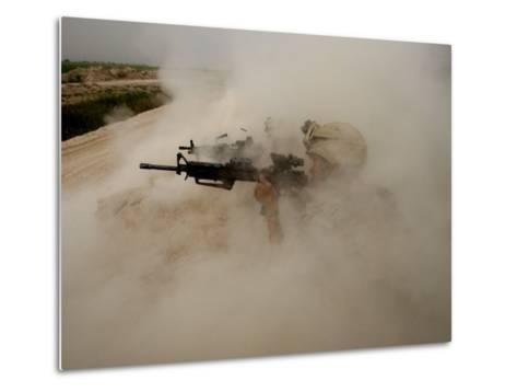 US Marines Return Fire on Taliban Positions Near the Town of Garmser in Afghanistan--Metal Print