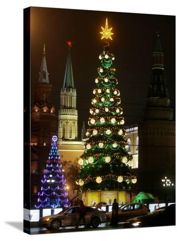 Christmas Trees Rise Just Outside the Moscow Kremlin--Stretched Canvas Print