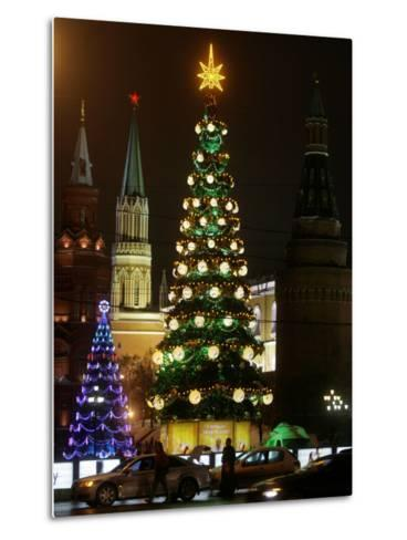 Christmas Trees Rise Just Outside the Moscow Kremlin--Metal Print