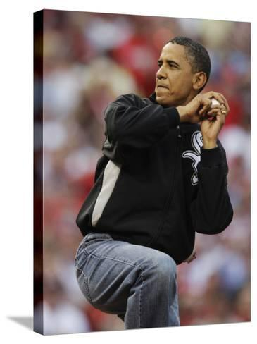 President Obama Winds Up to Throw Out the First Pitch During the MLB All-Star Baseball Game in St. --Stretched Canvas Print
