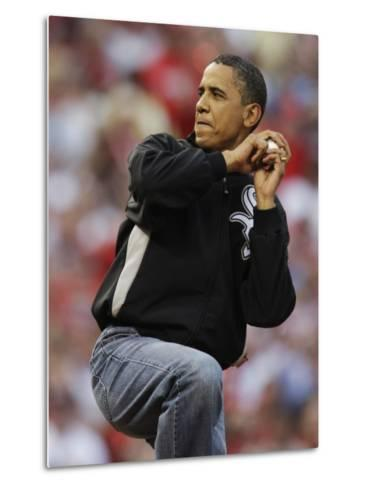 President Obama Winds Up to Throw Out the First Pitch During the MLB All-Star Baseball Game in St. --Metal Print
