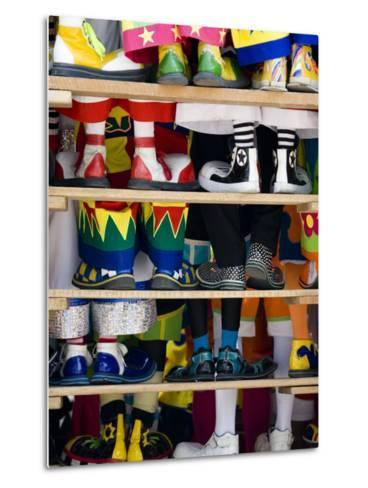 Group Photo of Clowns' Shoes at a Week Long Latin American Clown Convention in Mexico City--Metal Print