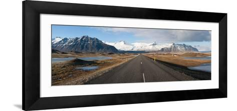 Road with Mountains in the Background, Iceland--Framed Art Print