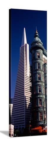 View of Towers, Columbus Tower, Transamerica Pyramid, San Francisco, California, USA--Stretched Canvas Print