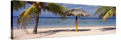 Sunshade on the Beach, La Boca, Cuba--Stretched Canvas Print