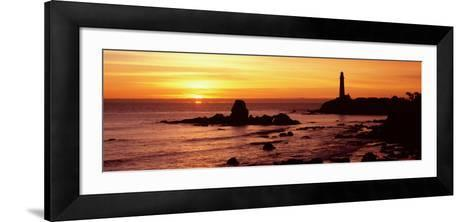 Silhouette of a Lighthouse at Sunset, Pigeon Point Lighthouse, San Mateo County, California, USA--Framed Art Print
