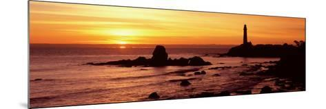 Silhouette of a Lighthouse at Sunset, Pigeon Point Lighthouse, San Mateo County, California, USA--Mounted Photographic Print