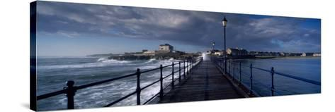 Waves Crashing Against a Jetty, Amble, Northumberland, England--Stretched Canvas Print
