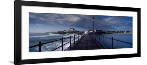 Waves Crashing Against a Jetty, Amble, Northumberland, England--Framed Art Print