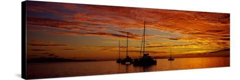 Sailboats in the Sea, Tahiti, French Polynesia--Stretched Canvas Print