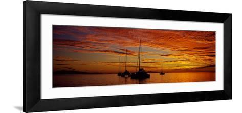 Sailboats in the Sea, Tahiti, French Polynesia--Framed Art Print