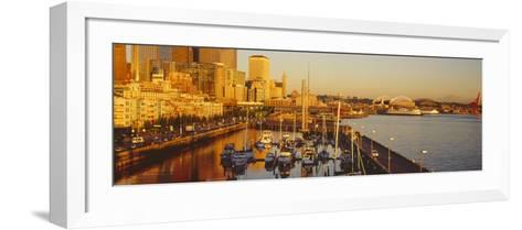 Buildings at Waterfront, Elliott Bay, Bell Harbor Marina, Seattle, King County, Washington State--Framed Art Print