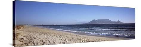 Sea with Table Mountain in the Background, Bloubergstrand, Cape Town, Western Cape Province, South --Stretched Canvas Print