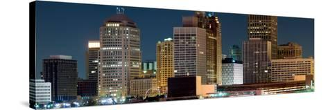 Buildings in a City Lit Up at Night, Detroit River, Detroit, Michigan, USA--Stretched Canvas Print