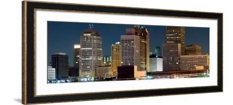 Buildings in a City Lit Up at Night, Detroit River, Detroit, Michigan, USA--Framed Art Print