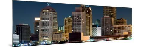 Buildings in a City Lit Up at Night, Detroit River, Detroit, Michigan, USA--Mounted Photographic Print