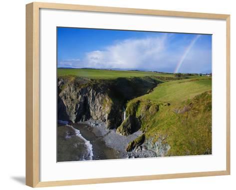 Rainbow over Ballydowane, the Copper Coast, County Waterford, Ireland--Framed Art Print