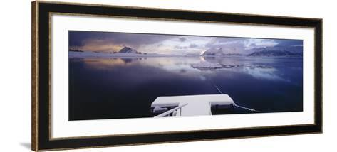 Snow Covered Pier with Mountains in the Background, Lofoten, Nordland County, Norway--Framed Art Print
