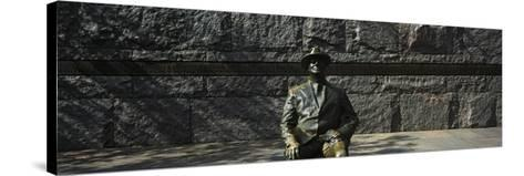 Bronze Statue of the Former Us President, Franklin Delano Roosevelt Memorial, Washington Dc, USA--Stretched Canvas Print