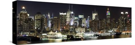 Buildings in City Lit Up at Night, Hudson River, Midtown Manhattan, Manhattan, New York City--Stretched Canvas Print