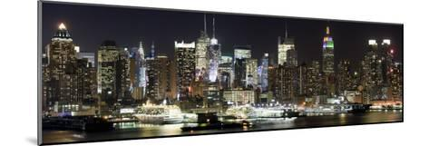 Buildings in City Lit Up at Night, Hudson River, Midtown Manhattan, Manhattan, New York City--Mounted Photographic Print