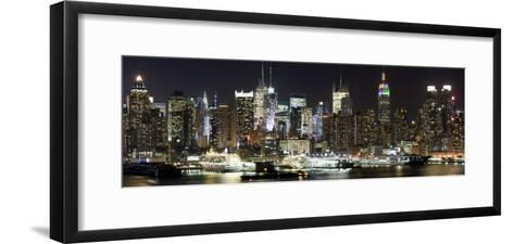 Buildings in City Lit Up at Night, Hudson River, Midtown Manhattan, Manhattan, New York City--Framed Art Print