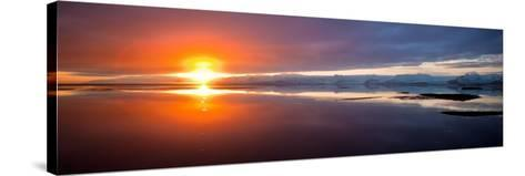 Sunset over the Sea, Hornafjordur, Iceland--Stretched Canvas Print