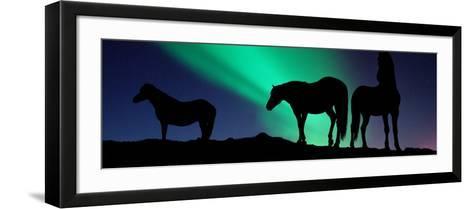 Silhouette of Horses at Dusk, Iceland--Framed Art Print