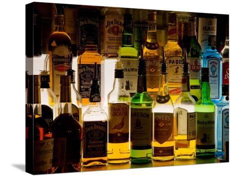 Bottles of Liquor, De Luan's Bar, Ballydowane, County Waterford, Ireland--Stretched Canvas Print