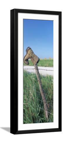 Cowboy Boot on a Fence, Pottawatomie County, Kansas, USA--Framed Art Print